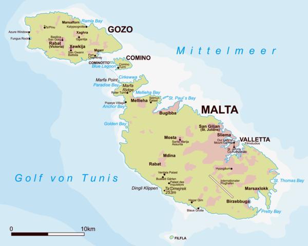 Malta Gozo Comino map