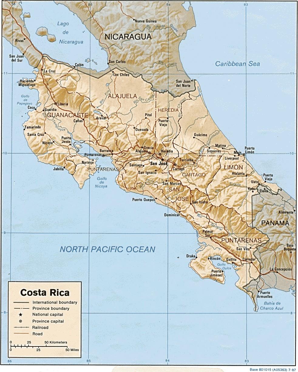 Physische Karte von Costa Rica